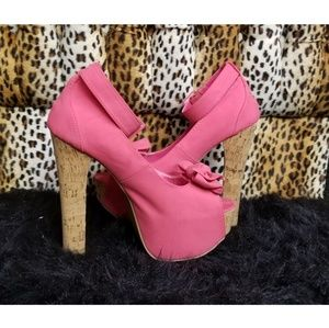 Pink and cork heels in size 8